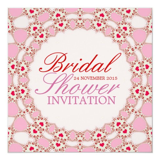 Sweet Love Hearts Lace Bridal Shower Invitation
