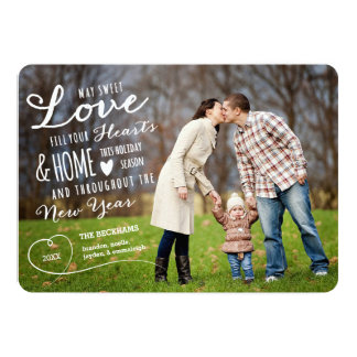 Sweet Love Holiday Photo Card / Red Back