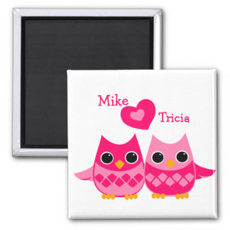 Sweet Love Owls 2 Inch Square Magnet