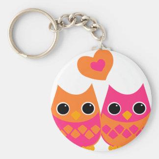 Sweet Love Owls Basic Round Button Keychain