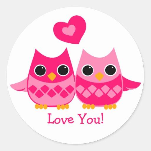 Sweet Love Owls Classic Round Sticker