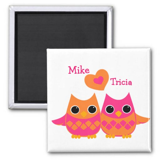 Sweet Love Owls Refrigerator Magnets