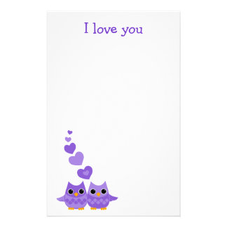 Sweet Love Owls Stationery Paper