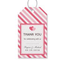 Sweet Love Pink Stripes Pattern Wedding Gift Tag