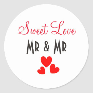 Sweet Love Red Hearts Personalized Classic Round Sticker
