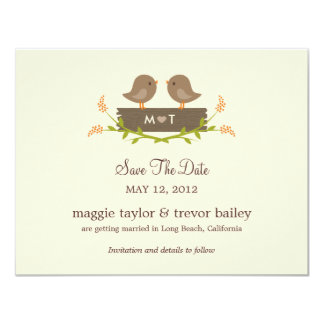 "Sweet Love Save The Date Announcement 4.25"" X 5.5"" Invitation Card"