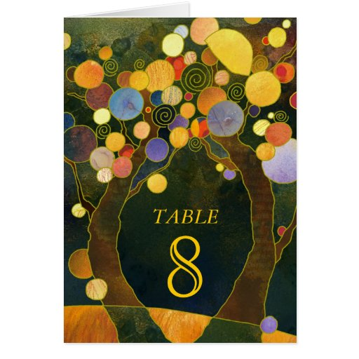Sweet Love Trees Wedding Table Number Folded Cards