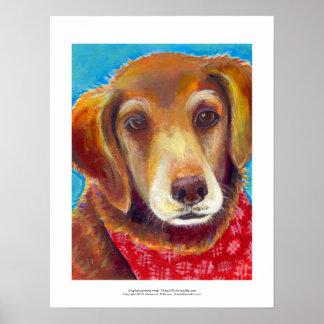 Sweet loving golden retriever dog painting poster