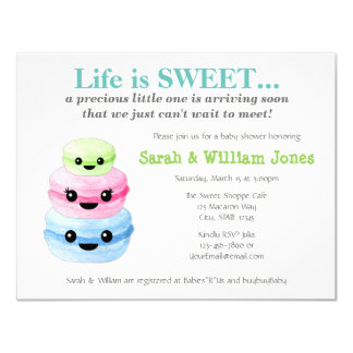 Sweet Macaron Baby Shower Invitations Green 002