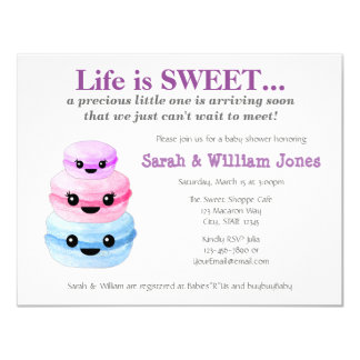 Sweet Macaron Baby Shower Invitations Purple 003