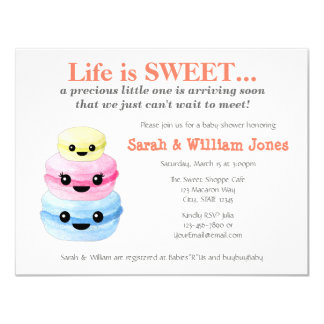 Sweet Macaron Baby Shower Invitations Yellow 001