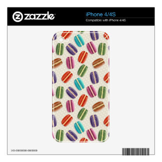 Sweet Macaron Cookies and Polka Dot Pattern Decals For iPhone 4