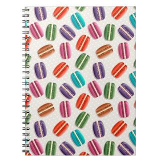 Sweet Macaron Cookies and Polka Dot Pattern Spiral Notebook