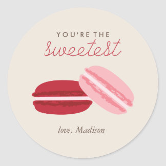 Sweet Macarons Valentines Day Classic Round Sticker