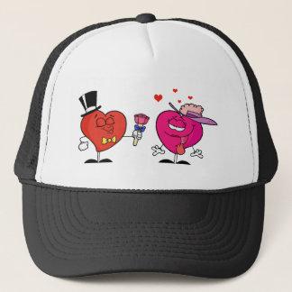 Sweet Male Heart Giving Flowers To A  Lady Heart Trucker Hat