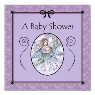 Sweet Mama and Baby Fairy Baby Shower Invitations