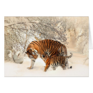Sweet Mama and Baby Tiger Blank Greeting Card