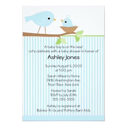 Sweet Mama Bird & Baby Boy Baby Shower Card