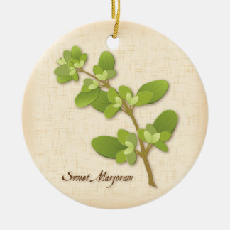 Sweet Marjoram Herb Ceramic Ornament
