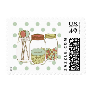 Sweet mason jar and candy postage stamp