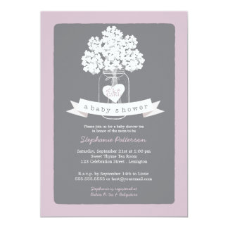Sweet Mason Jar Lilac Gray Baby Shower Invitation