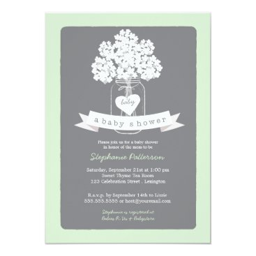 Toddler & Baby themed Sweet Mason Jar Neutral Baby Shower Invitation