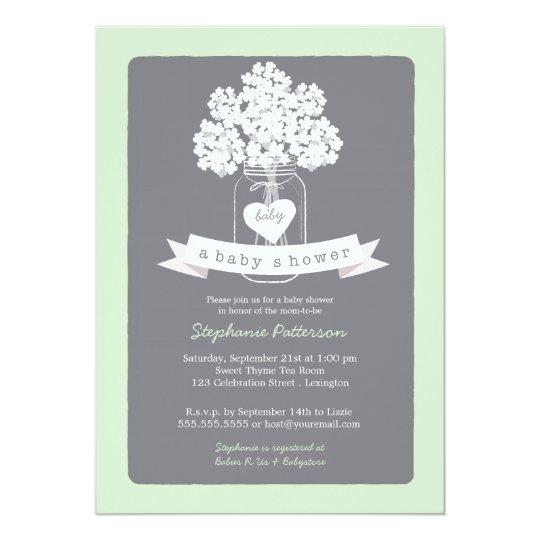 sweet mason jar neutral baby shower invitation | zazzle, Baby shower invitations