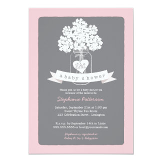 pink gray baby shower invitations & announcements | zazzle, Baby shower invitations