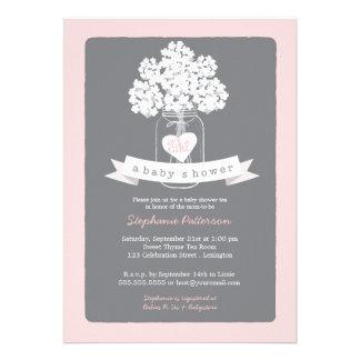 Sweet Mason Jar Pink Gray Baby Shower Invitation