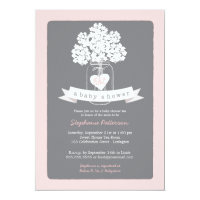 Mason jar baby shower invitations announcements zazzle sweet mason jar pink gray baby shower invitation filmwisefo