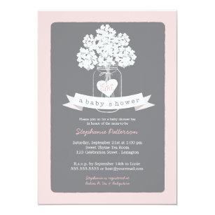 Captivating Sweet Mason Jar Pink   Gray Baby Shower Invitation