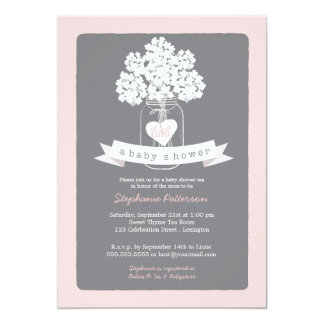 Sweet Mason Jar Pink | Gray Baby Shower Invitation