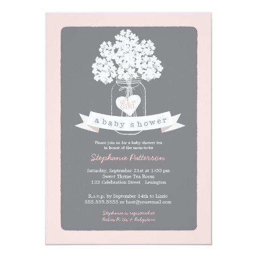 sweet mason jar pink gray baby shower invitation zazzle