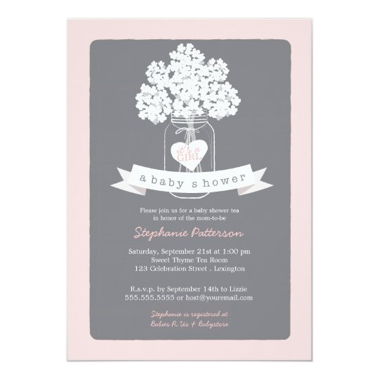 Wonderful Sweet Mason Jar Pink | Gray Baby Shower Invitation