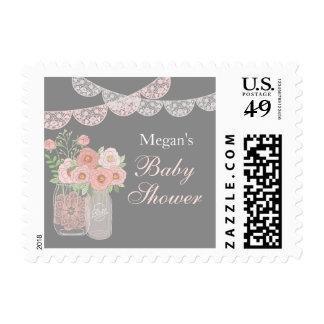 Sweet Mason Jar Pink Gray Baby Shower Stamp