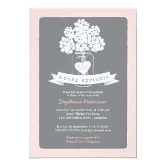 Sweet Mason Jar Pink | Gray Baby Sprinkle Card