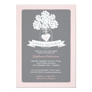 Sweet Mason Jar Pink   Gray Baby Sprinkle Card