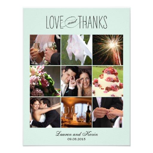 Sweet Memories Wedding Photo Thank You Card Blue Announcements