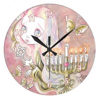 Sweet Menorah Girl Large Clock