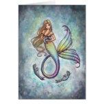Sweet Mermaid and Baby Seals Greeting Card