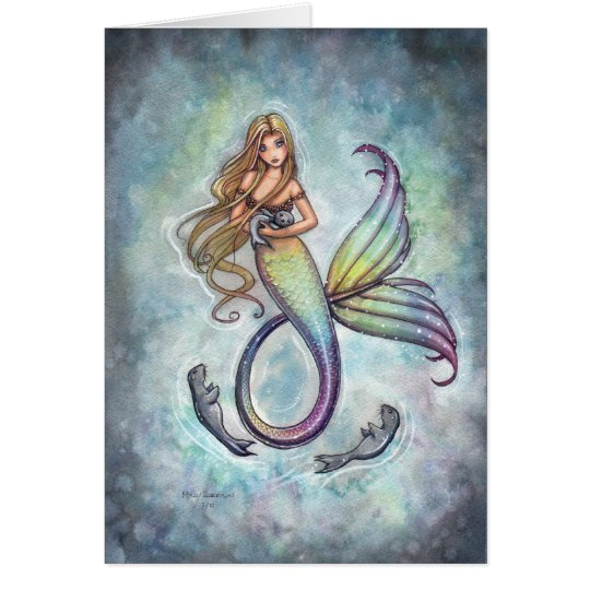 Sweet Mermaid and Baby Seals Greeting Card
