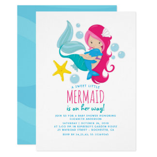 Sweet Mermaid Baby Shower Card