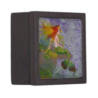 Sweet Mermaid big eye mixed media fantasy art box Premium Jewelry Boxes