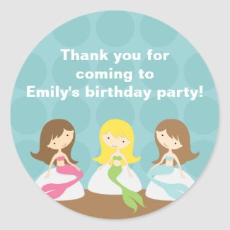 Sweet Mermaids Birthday Stickers sticker