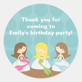 Sweet Mermaids Birthday Stickers Round Sticker