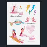 """Sweet Mermaids tattoo<br><div class=""""desc"""">A sweet little Mermaid waking up after a nap in a sea shell. A cute design with beautiful illustrations by Ulla at mermaid.fi (that's me!). Perfect for all little girls or also bigger ones as a birthday gift, or for anyone who loves the summer and sea and life on the...</div>"""