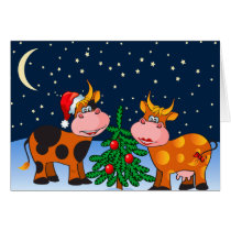Sweet Merry Christmas Cow Couple By Christmas Tree Card