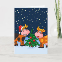 Sweet Merry Christmas Cow Couple By Christmas Tree Holiday Card