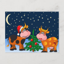 Sweet Merry Christmas Cow Couple By Christmas Tree Holiday Postcard