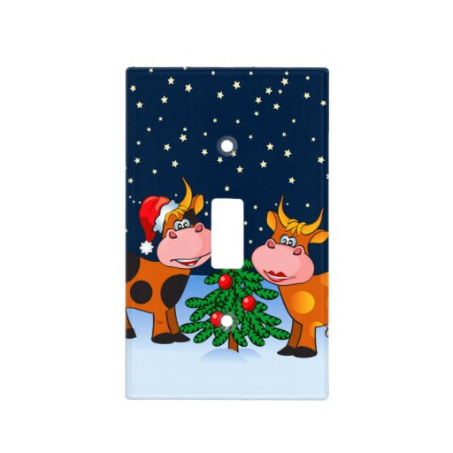 Sweet merry christmas cow couple by tree light